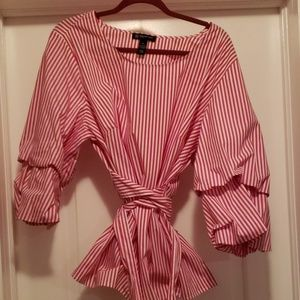 INC Striped Red & White Top